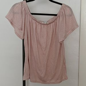 Off shoulder jersey top blush